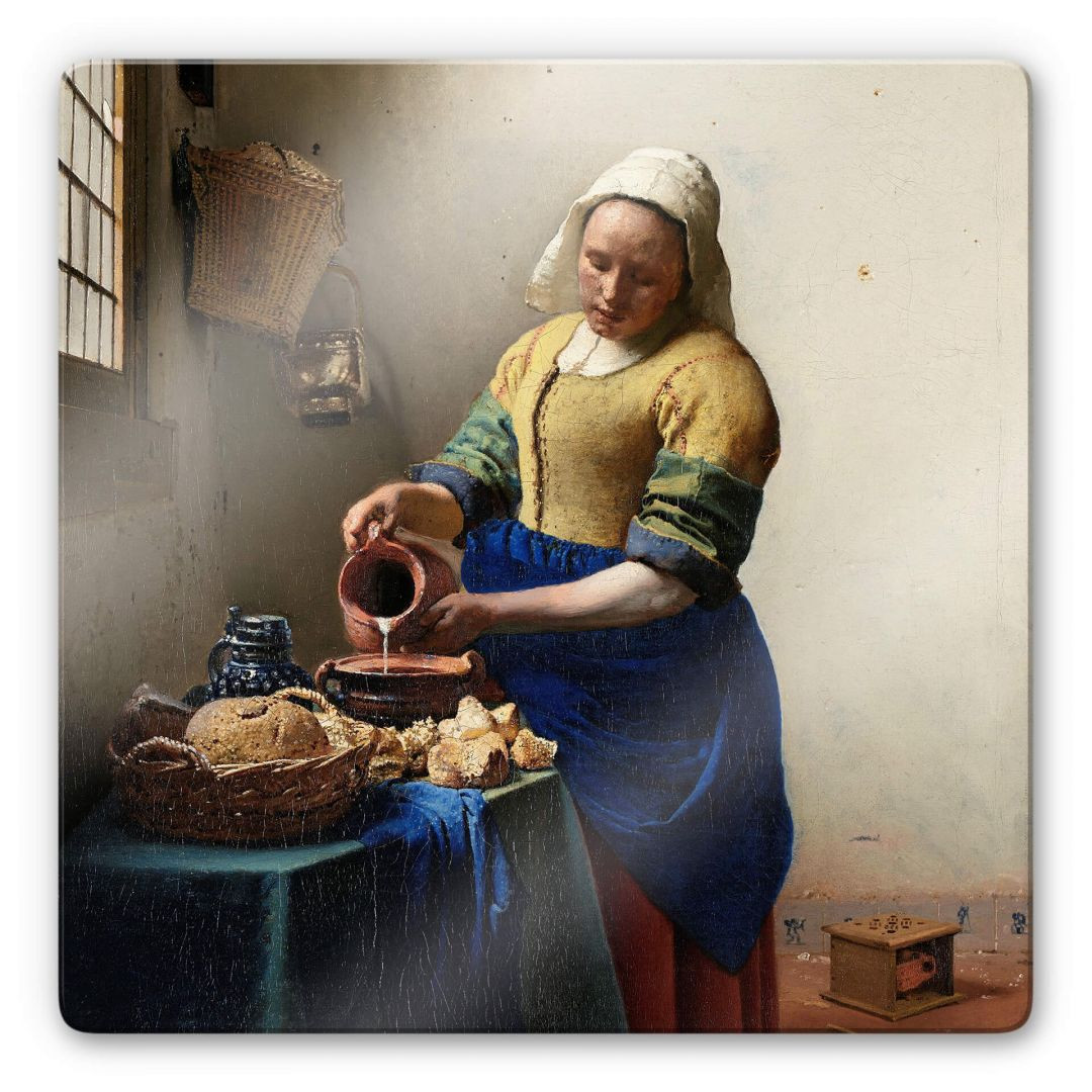 Glasbild Vermeer - Das Mädchen mit dem Milchkrug - quadratisch - WA253033