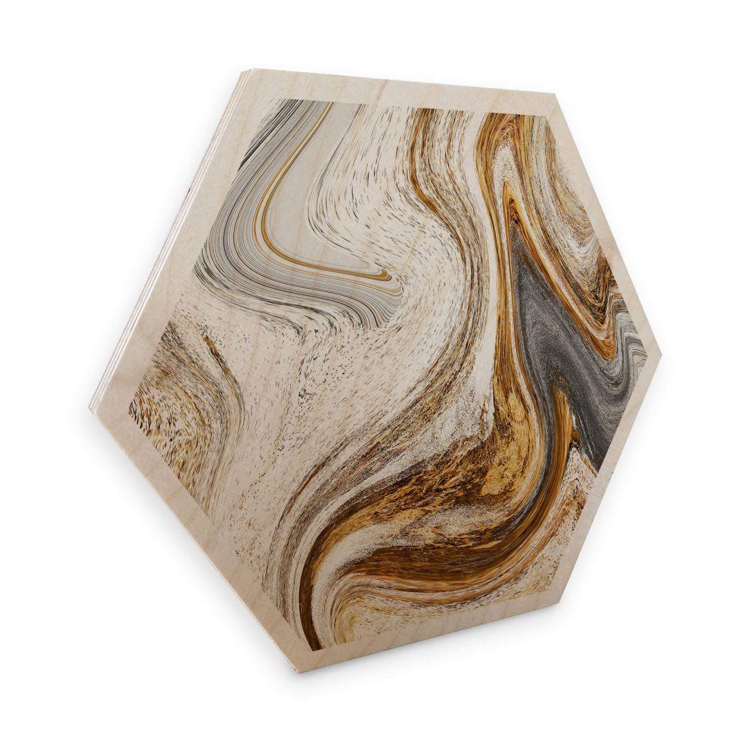 Hexagon - Holz Birke-Furnier - Golden Struggle - WA253242