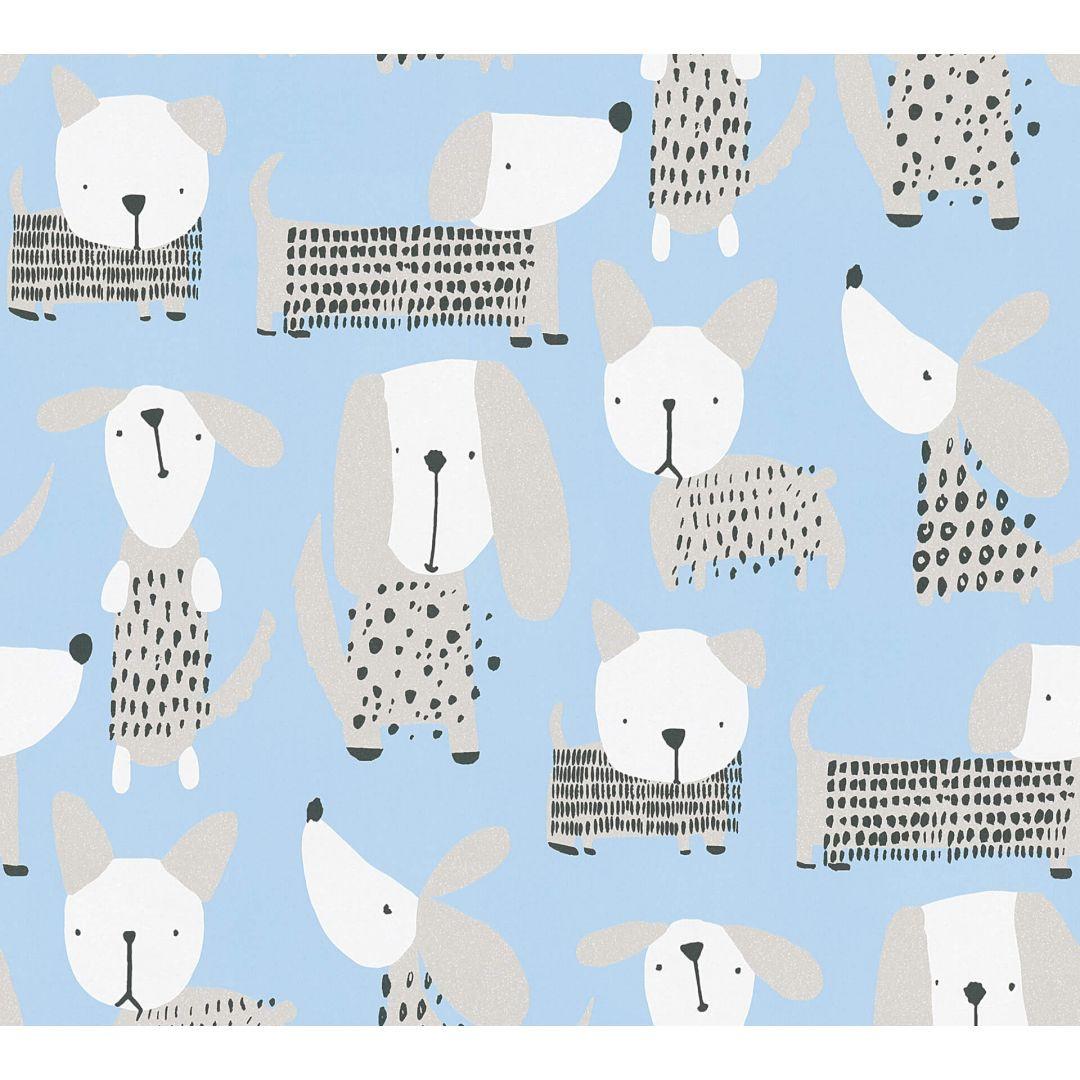 A.S. Création Papiertapete Boys & Girls 6 Tapete mit niedlichen Hunden blau, weiss - WA267721