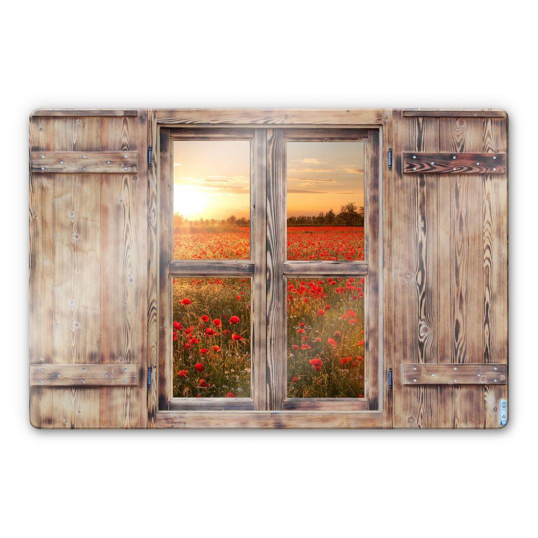 Glasbild 3D Holzfenster - Mohnblumen im Sonnenuntergang - WA262240