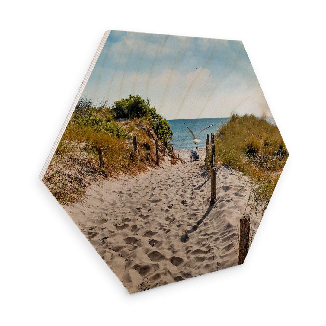 Hexagon - Holz Birke-Furnier - Way to the Beach - WA253434