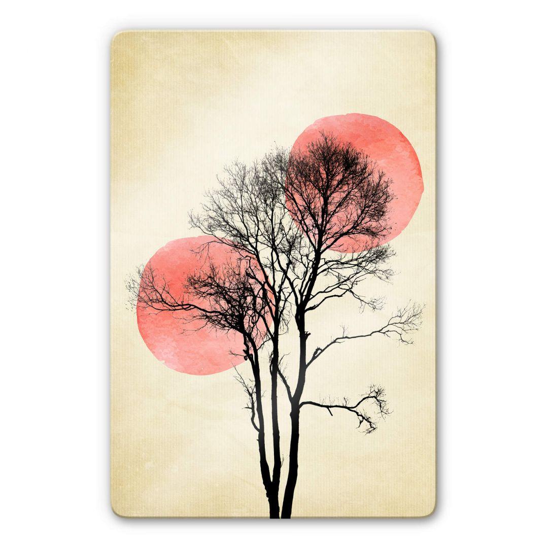 Glasbild Kubistika - Sonne und Mond hinter dem Baum - WA252913
