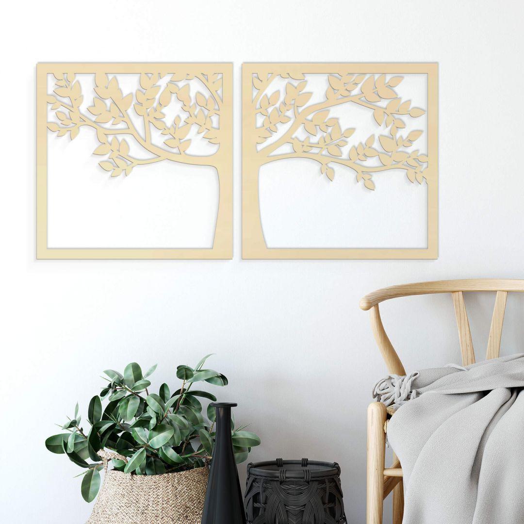 Holzkunst Pappel - Prachtvoller Baum (2-teilig) - WA253605
