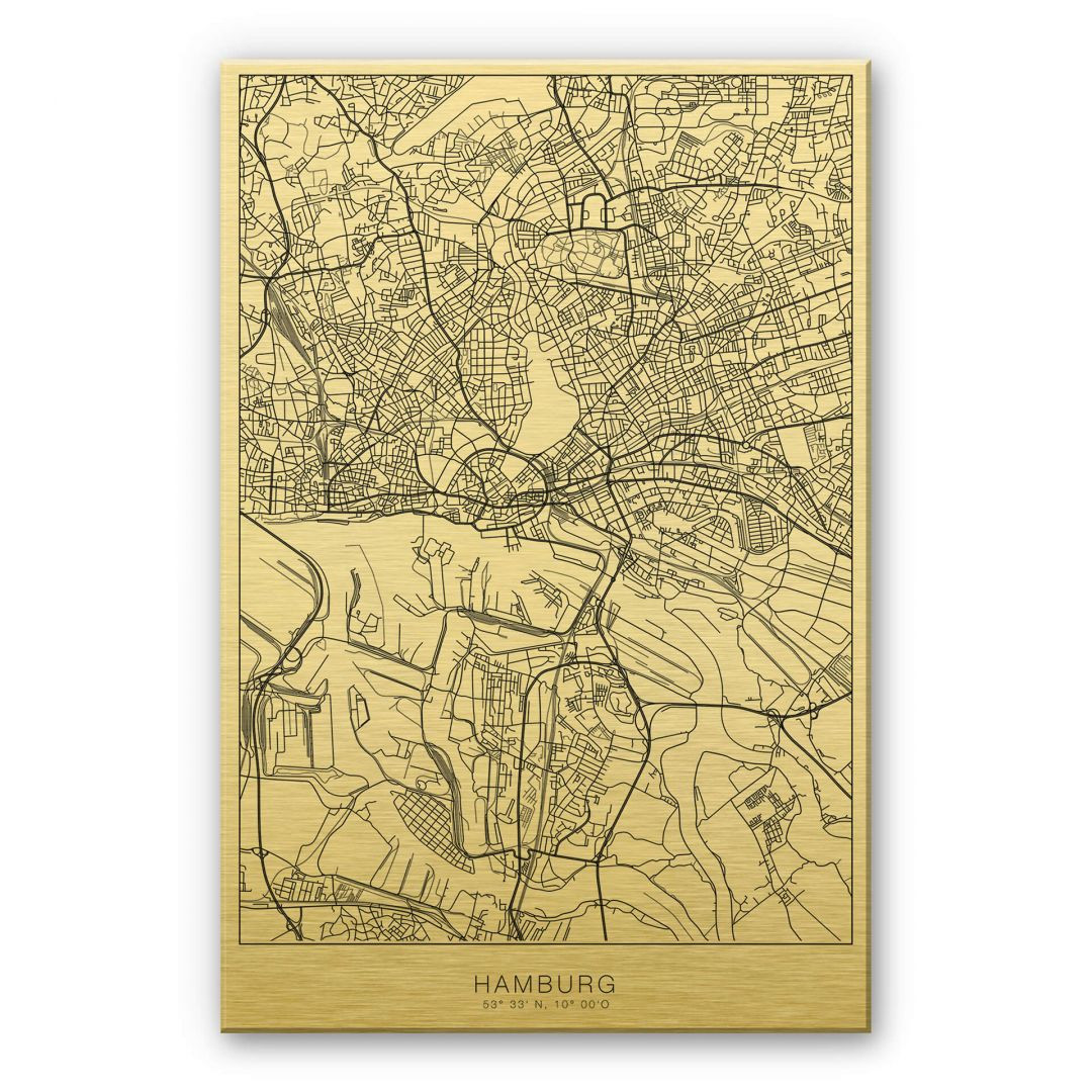 Alu-Dibond-Goldeffekt Stadtplan Hamburg - WA252088