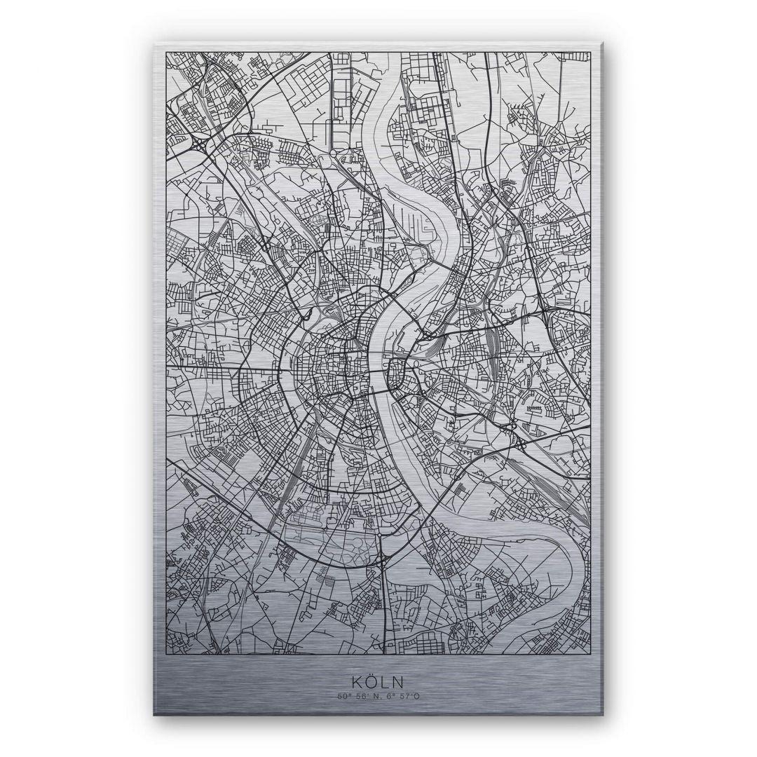 Alu-Dibond-Silbereffekt Stadtplan Köln - WA252221