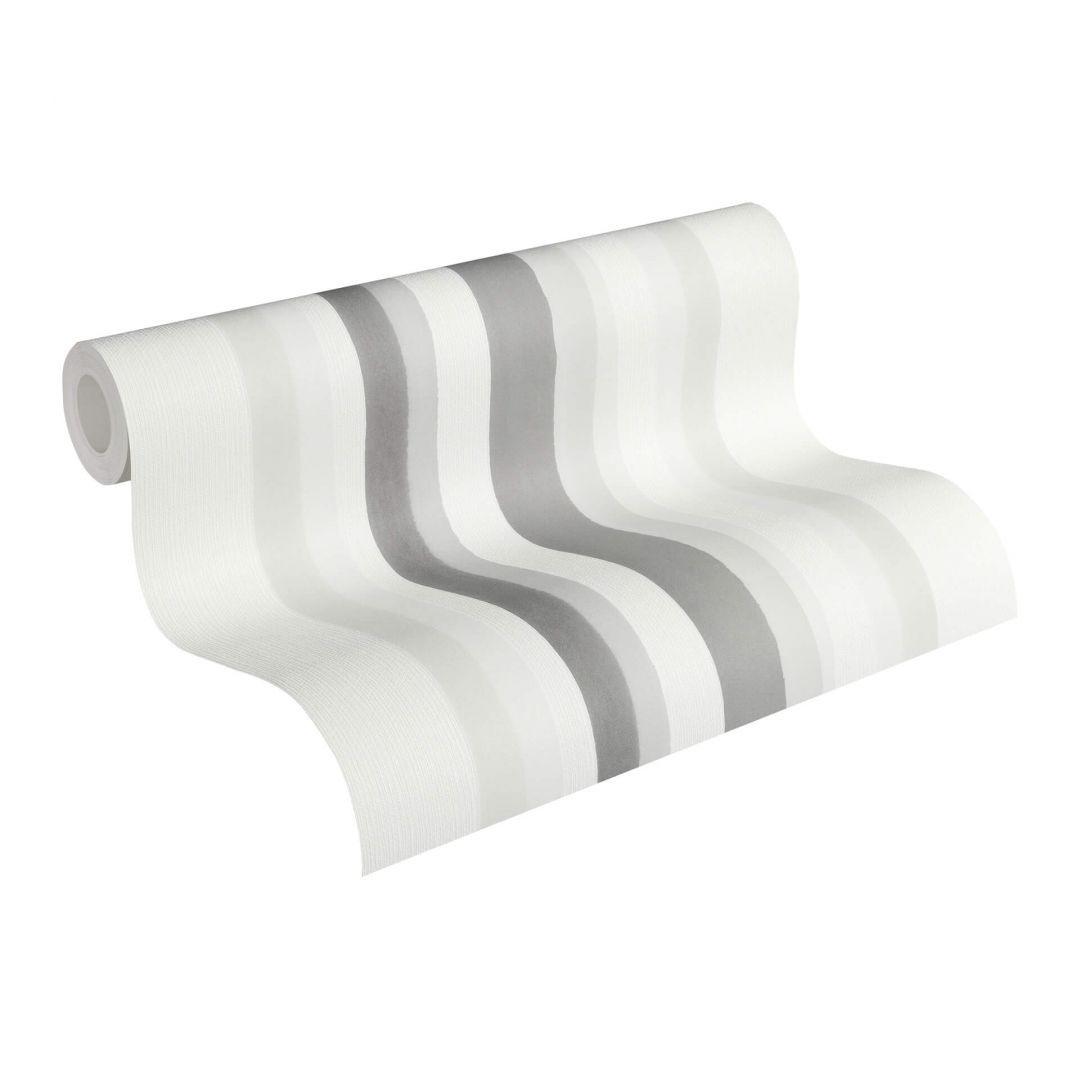 Vliestapete Premium Wall Tapete Streifentapete creme, grau - WA251055