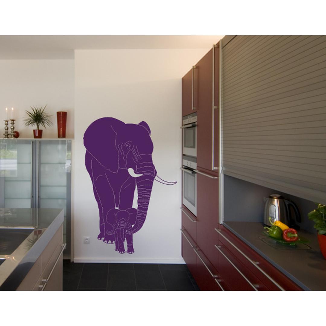 Wandtattoo Elefantenmutter & Junges - TD16445