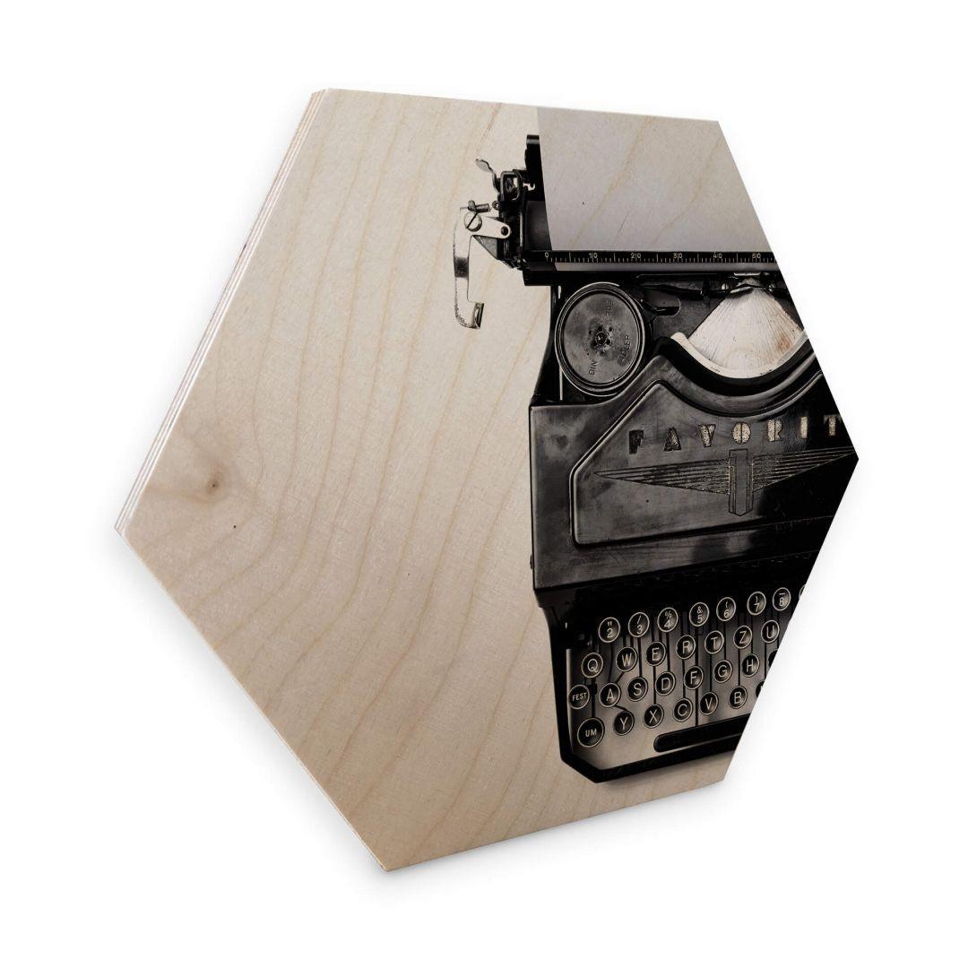 Hexagon - Holz Birke-Furnier - Typewriter - WA253412