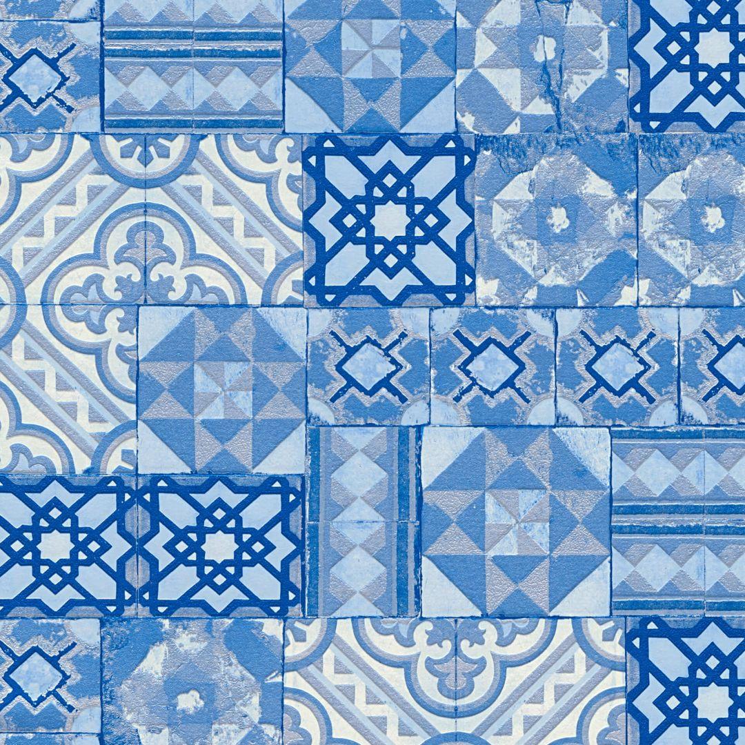 A.S. Création Tapete il Decoro in mediterraner Fliesen Optik blau, metallic - WA267819