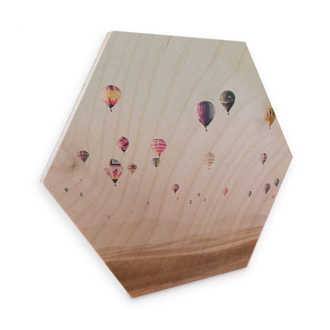 Hexagon - Holz Birke-Furnier - Sisi & Seb - Heissluftballons - WA253376