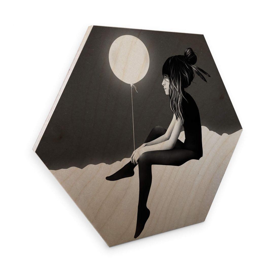 Hexagon - Holz Birke-Furnier - Ireland - No such thing as nothing by night - leuchtender Ballon - WA253275