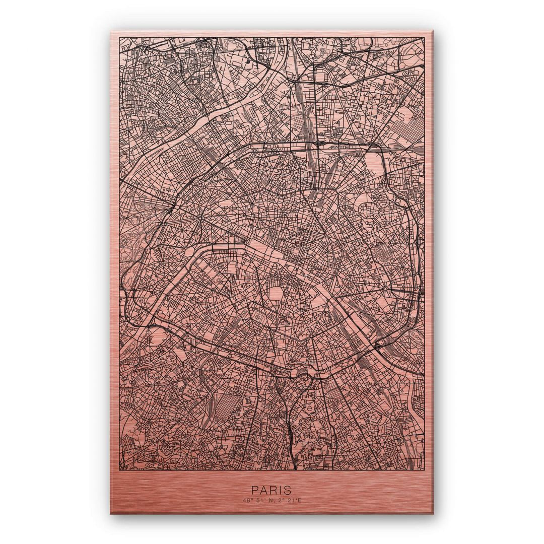 Alu-Dibond-Kupfereffekt Stadtplan Paris - WA252157