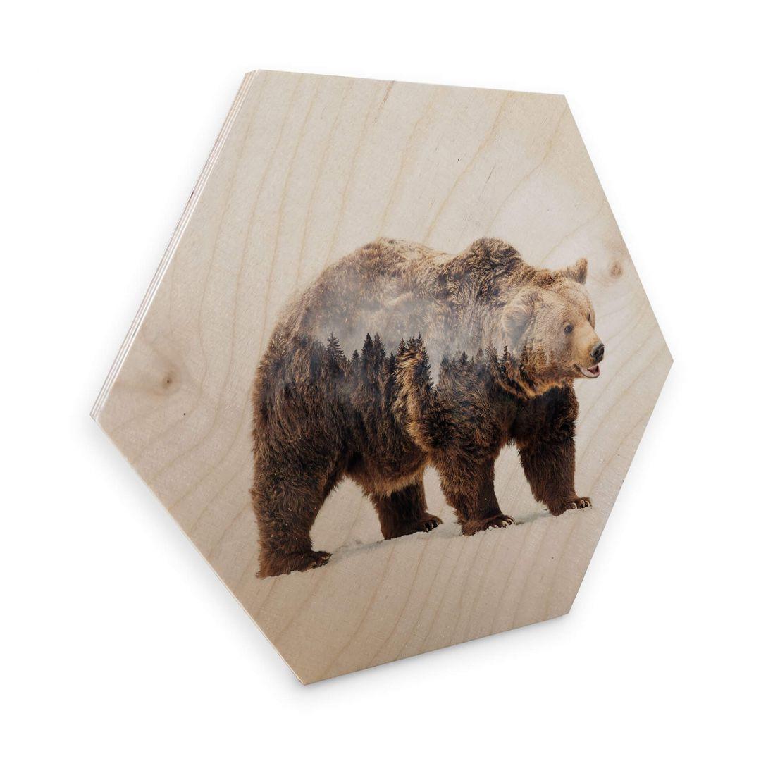 Hexagon - Holz Birke-Furnier - Beáta - Der Bär - WA253139