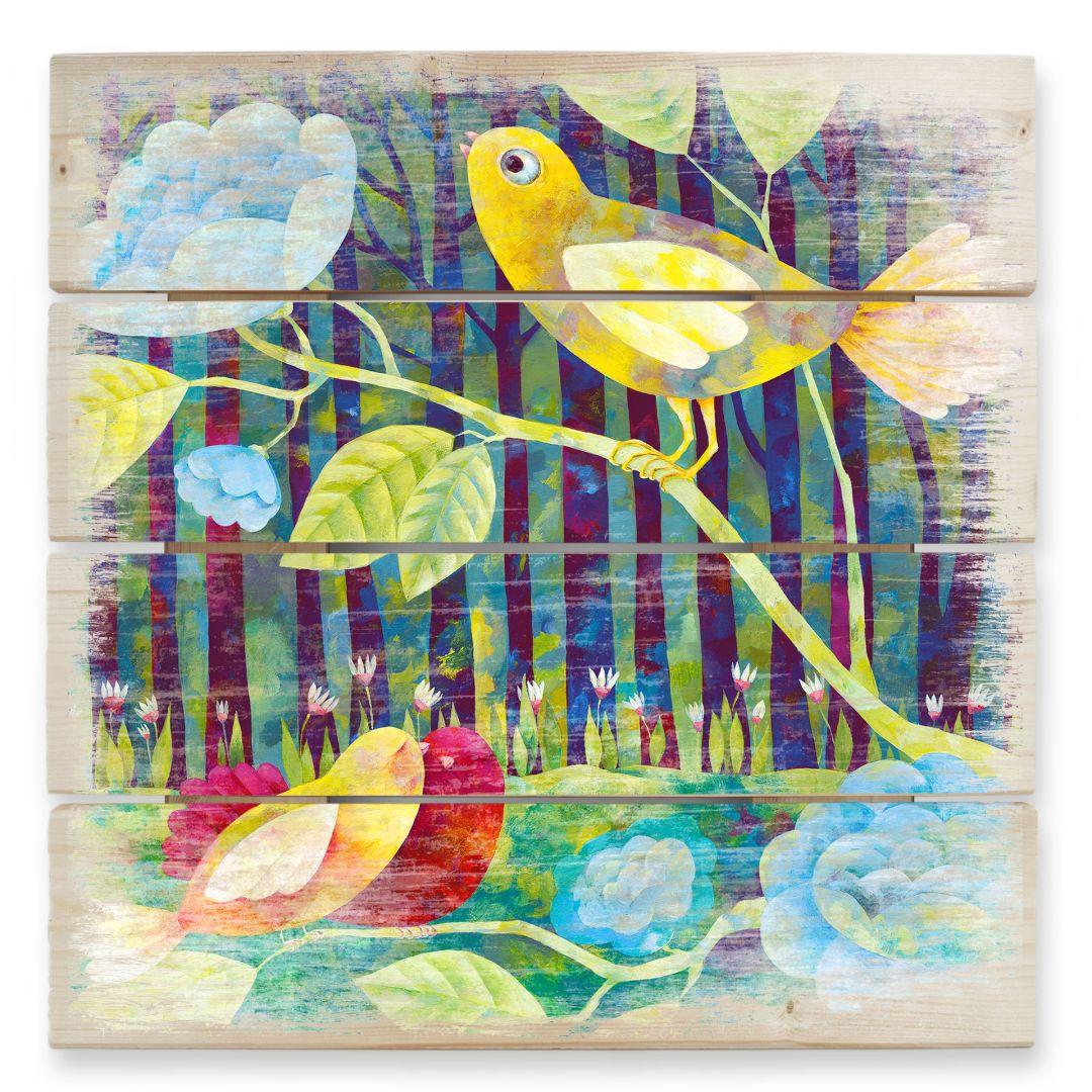 Holzbild Blanz - Vögel im Wald - WA131882