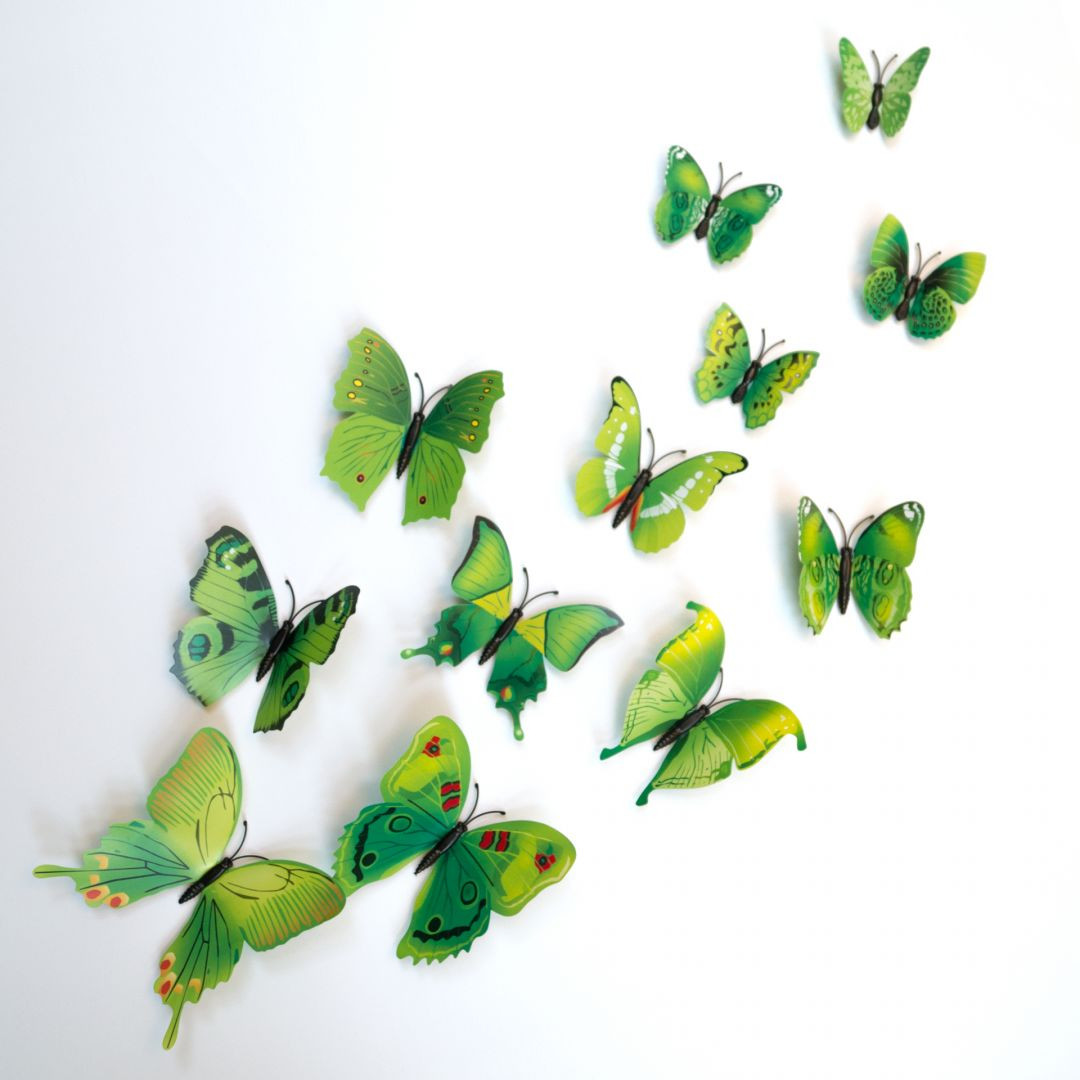 3d Wandtattoo Schmetterling Set 12 Tlg Grun