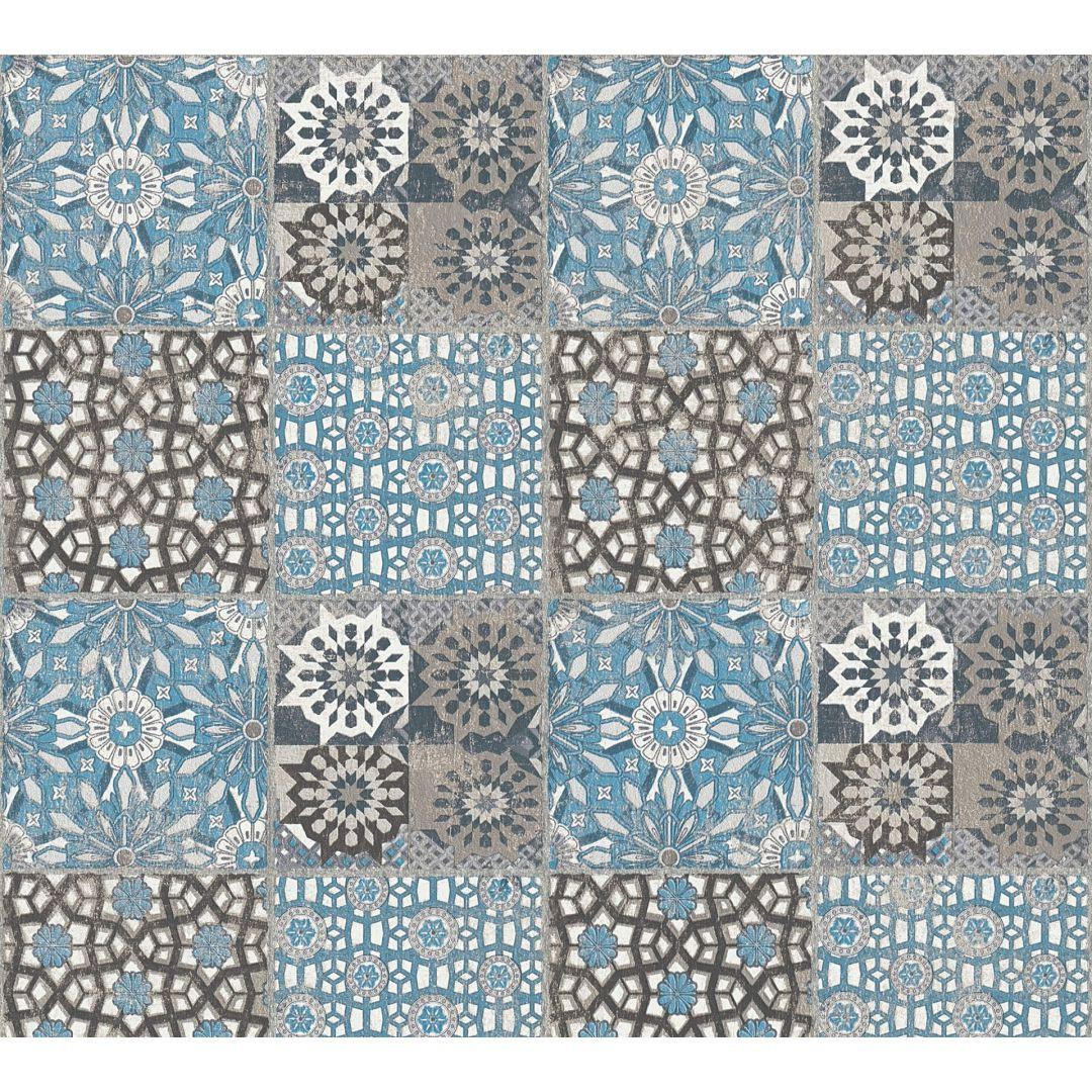 A.S. Création Vliestapete il Decoro Tapete in mediterraner Fliesen Optik blau, grau, schwarz - WA268426
