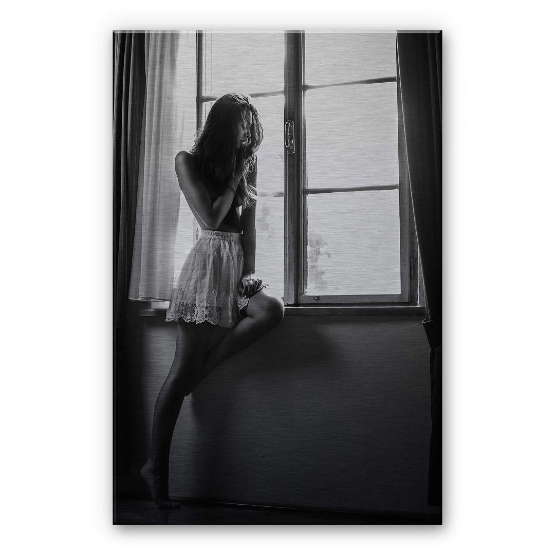 Alu-Dibond-Silbereffekt Krystynek - Girl on the Window - WA252189