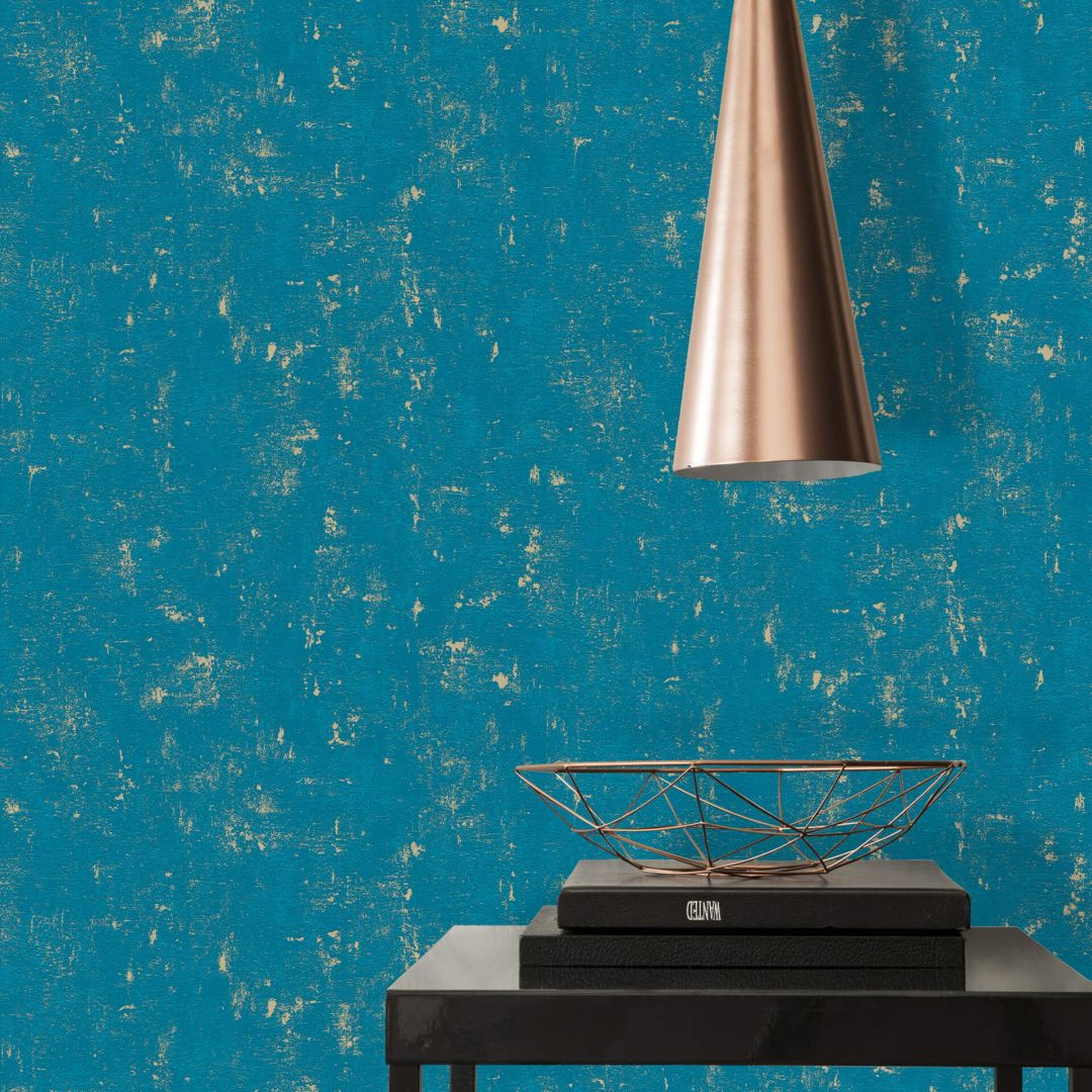 A.S. Création Vliestapete Used Look Tapete in Vintage Optik blau, goldfarben - WA288326
