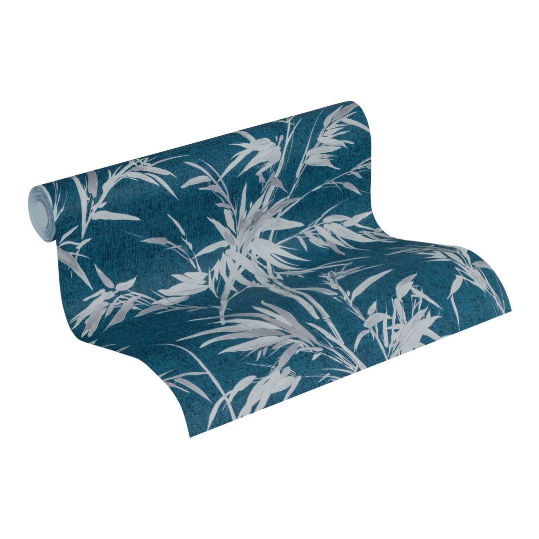 A.S. Création Vliestapete Sumatra Tapete mit Palmenblättern blau, grau, metallic - WA288273