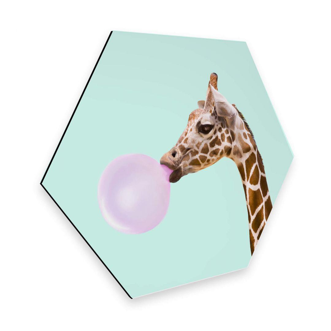Hexagon - Alu-Dibond - Fuentes - Giraffe und ihr Kaugummi - WA253051