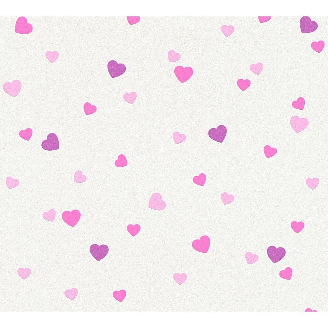A.S. Création Tapete Boys & Girls 6 mit Herzen Love creme, metallic, lila - WA267767
