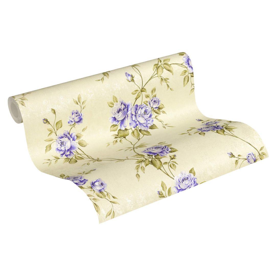 A.S. Création Vliestapete Romantico Tapete romantisch floral creme, lila, grün - WA268251