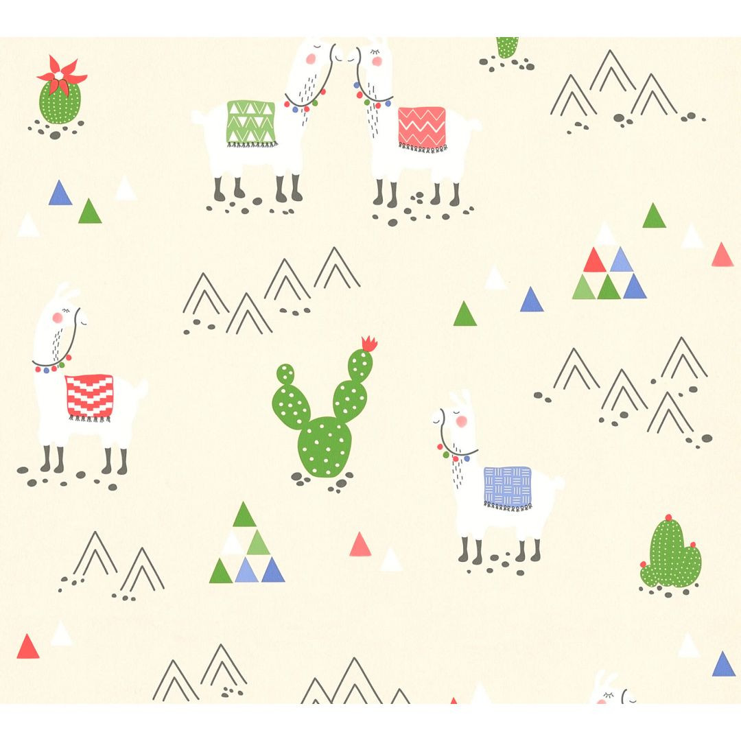 A.S. Création PVC-freie Vliestapete Boys & Girls 6 Tapete mit Lamas beige, creme - WA267650