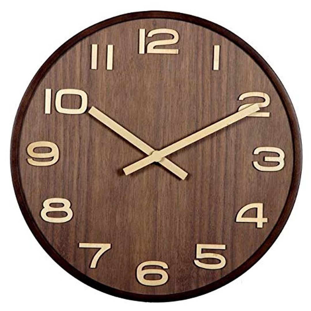 Moderne Holz Wanduhr Holzzeiger Ziffernblatt Zahlen nahezu geräuschlos Ø40cm - WA278557