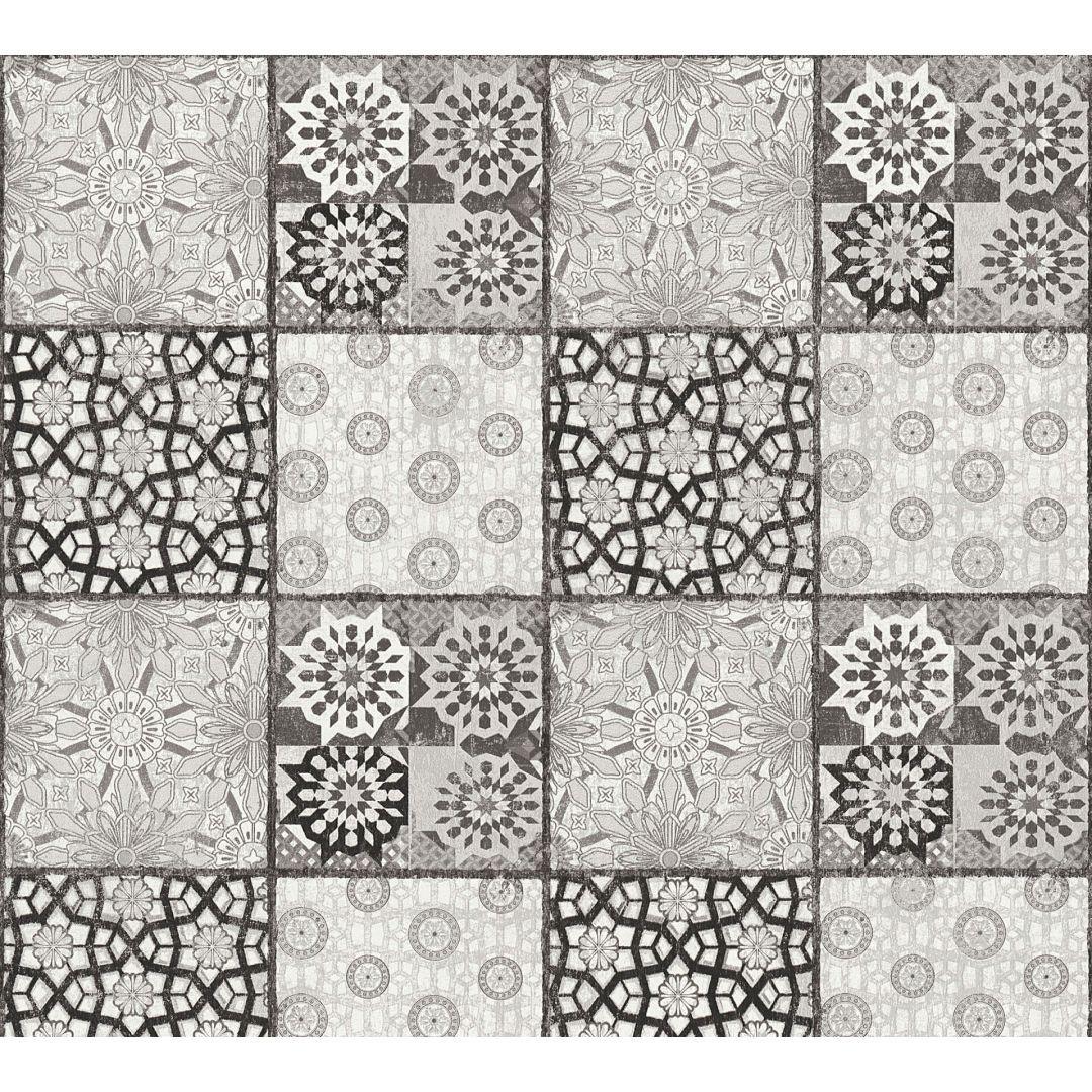A.S. Création Vliestapete il Decoro Tapete in mediterraner Fliesen Optik weiss, schwarz, grau - WA268435