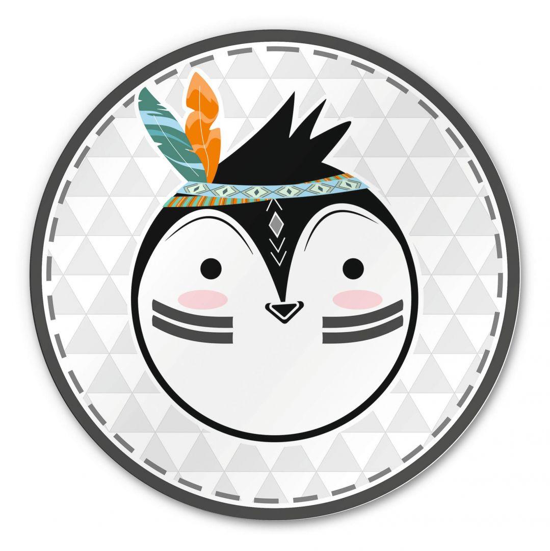 Alu-Dibond - Indianer-Pinguin - Rund - WA288500