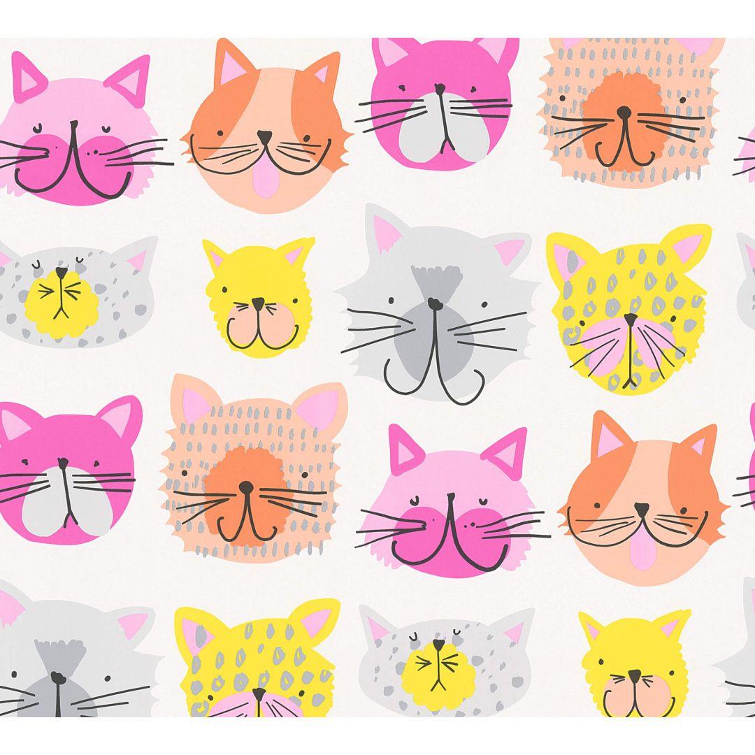 A.S. Création Papiertapete Boys & Girls 6 Tapete mit Katzen gelb, orange, rosa - WA267714