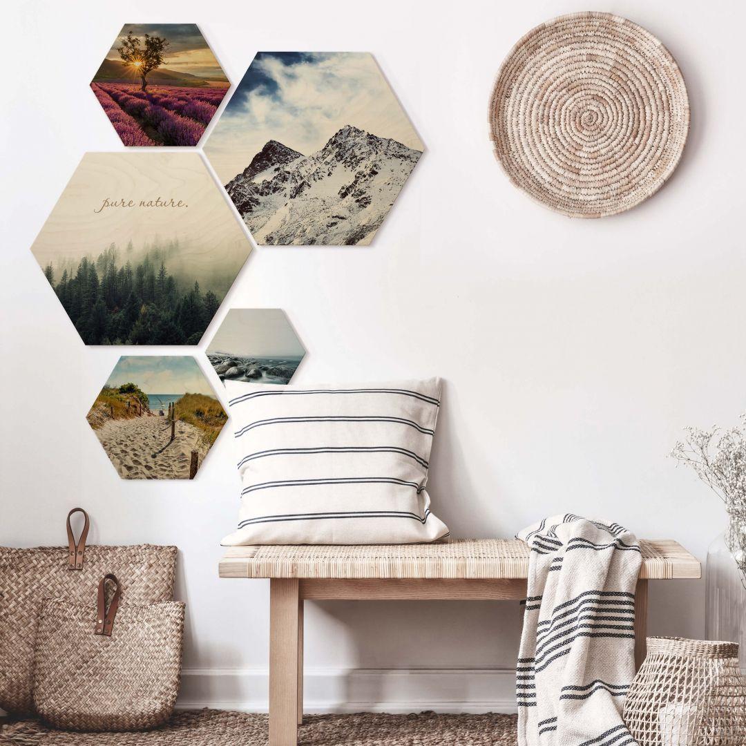 Hexagon - Holz Birke-Furnier - Landschaften (5er Set) - WA253316