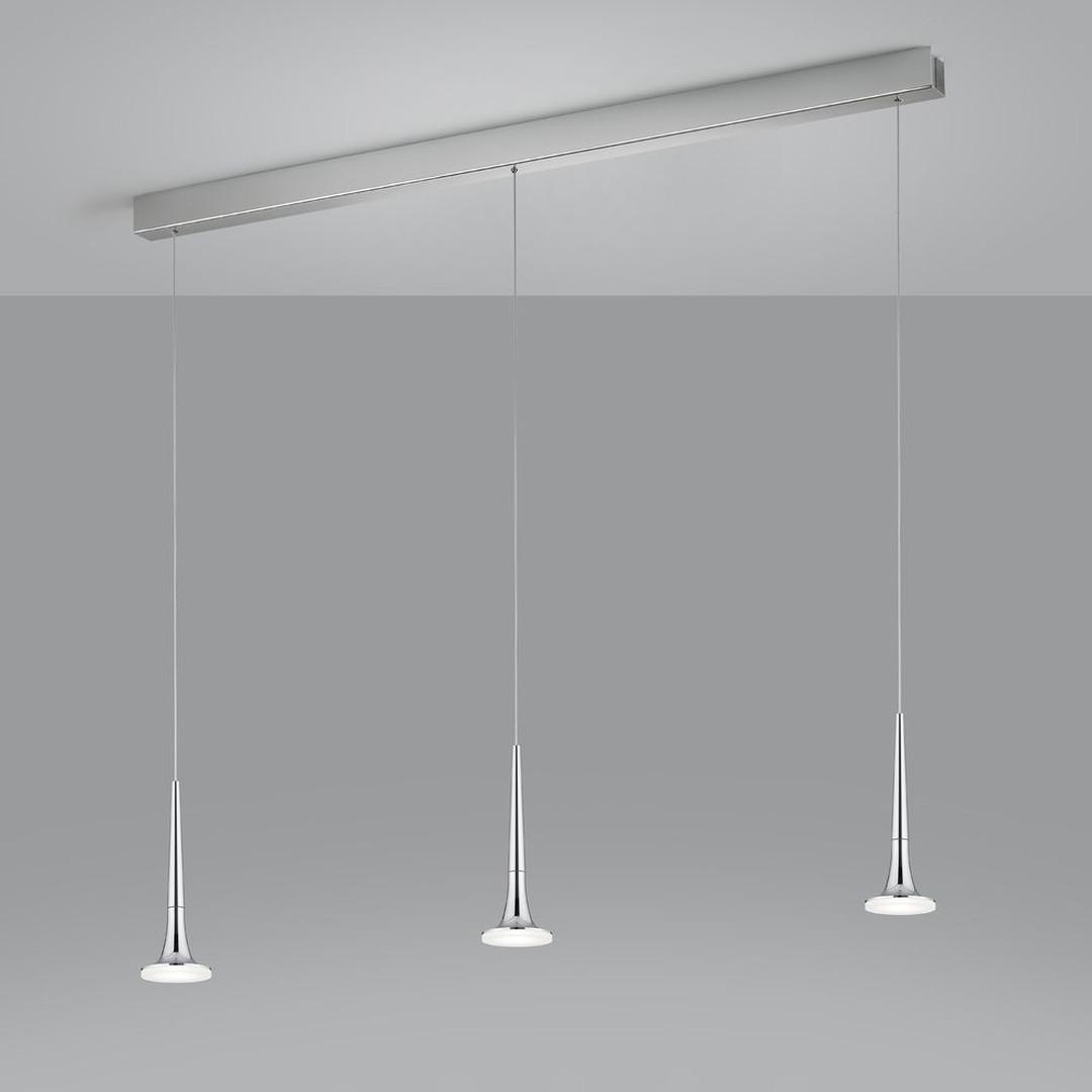 LED Pendelleuchte Flute Balken in Chrom und Transparent-satiniert 18W 1320lm - CL119990
