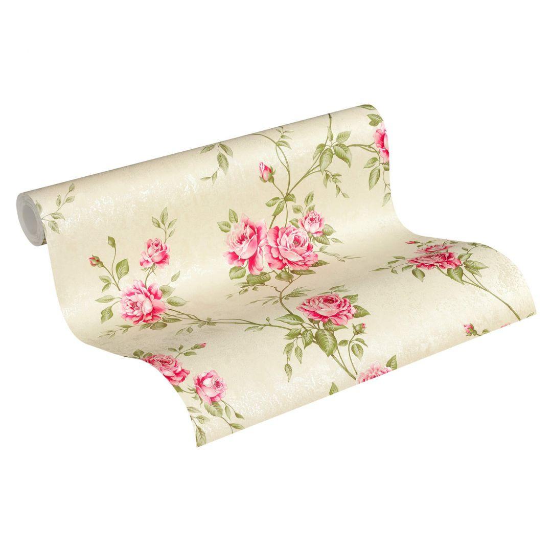 A.S. Création Vliestapete Romantico Tapete romantisch floral creme, grün, rot - WA268246
