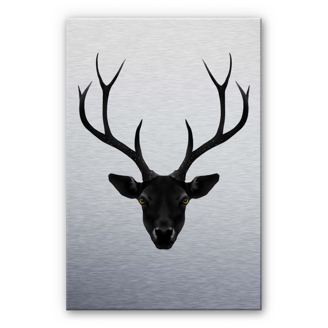 Alu-Dibond Silbereffekt Ireland - The Black Deer - Schwarzer Hirsch - WA252032