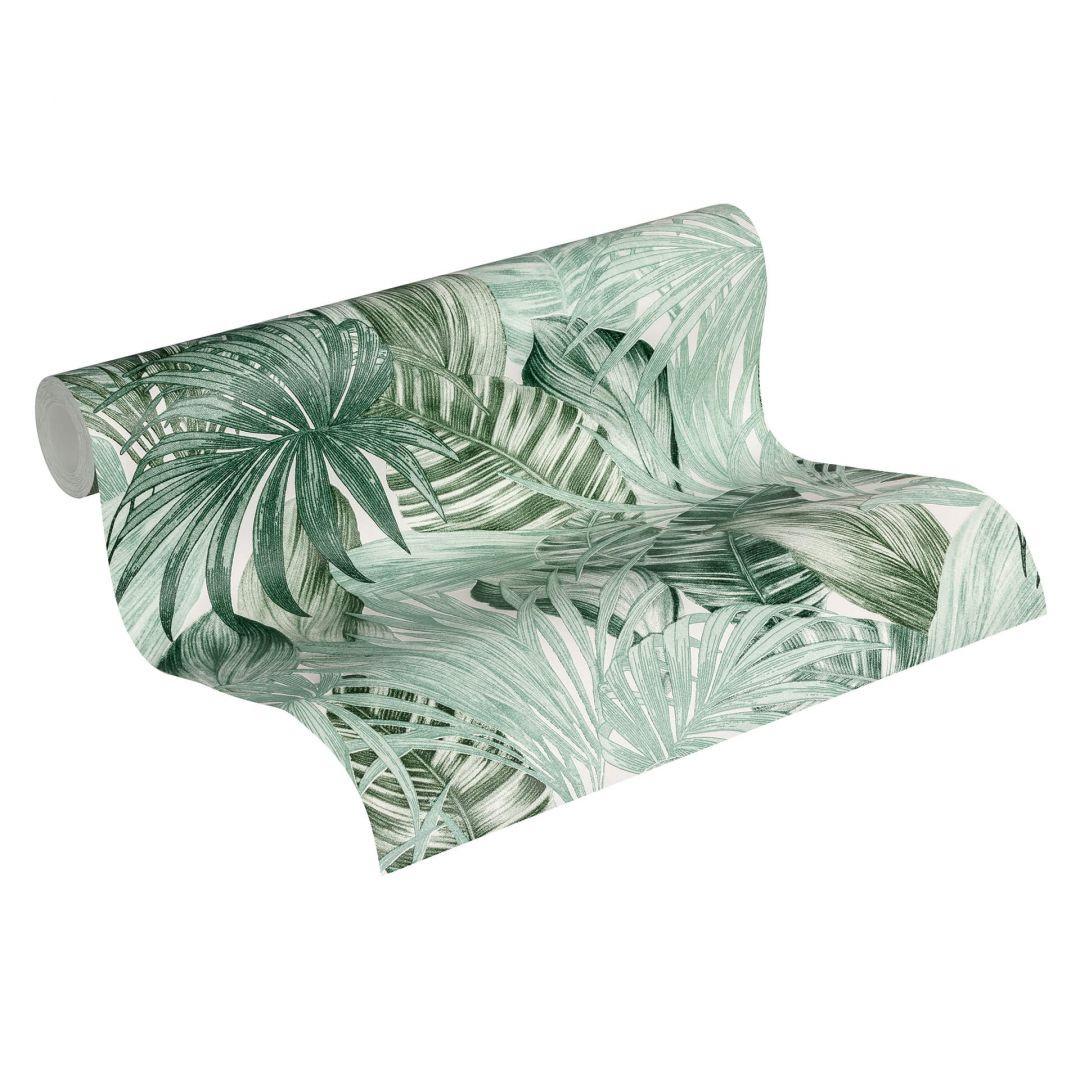 A.S. Création Vliestapete Greenery Tapete mit Palmenprint in Dschungel Optik grün, weiss - WA268113