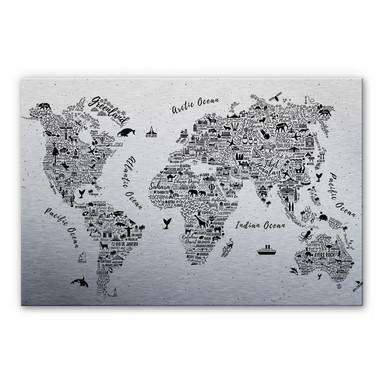 Alu Dibond-Silbereffekt Weltkarte - Around the world