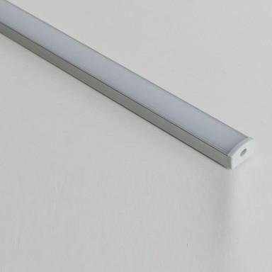 Aluminiumprofil für Ein- und Aufbau Abdeckung opal mit 1 Paar Endkappen & Montageclips 15x7x1000mm