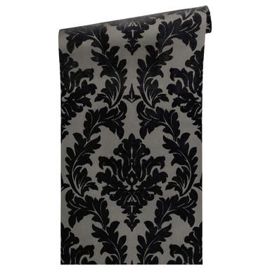 Architects Paper beflockte Tapete Castello grau, schwarz, metallic