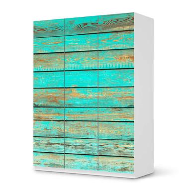 Folie IKEA Pax Schrank 201cm Höhe - 3 Türen - Wooden Aqua- Bild 1