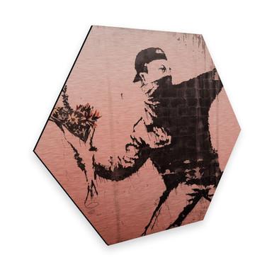 Hexagon - Alu-Dibond-Kupfereffekt - Banksy - Der Blumenwerfer