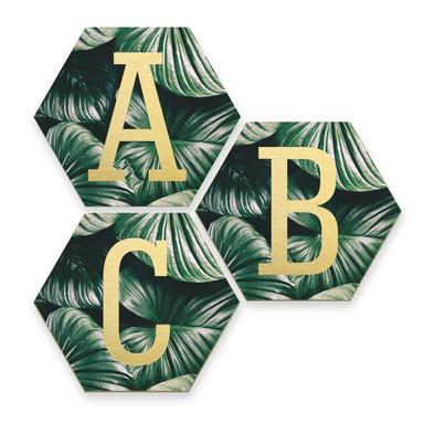 Hexagon Buchstaben - Alu-Dibond Goldeffekt - Urban Jungle