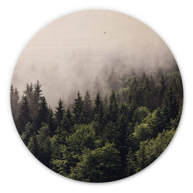 Holzbild Nebliger Wald - Rund