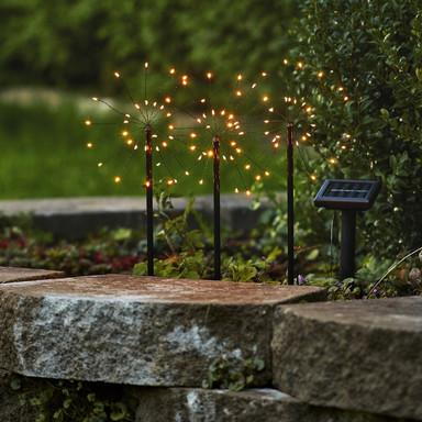 LED Solar Erdspiessleuchte Firework 3er-Set