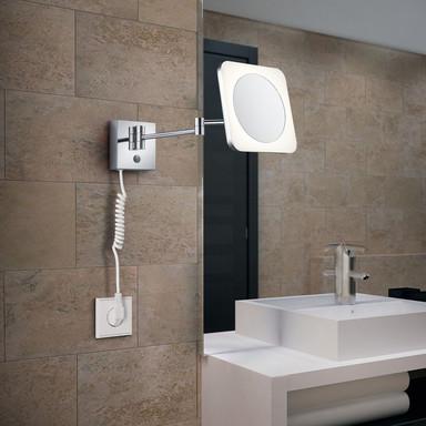 LED Spiegelleuchte in Chrom und Weiss 3W 280lm IP44 eckig