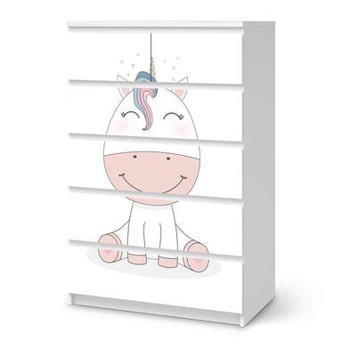 Möbel Klebefolie IKEA Malm Kommode 6 Schubladen (hoch) - Baby Unicorn- Bild 1