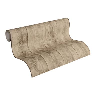 Mustertapeten A.S. Création Tapete Wood'n Stone Beige, Braun, Gelb