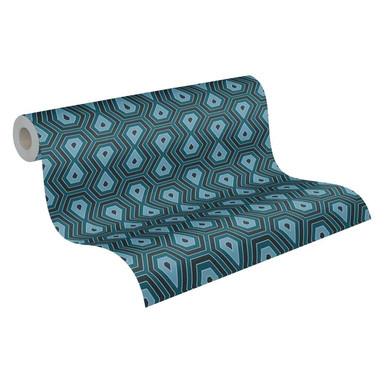 Architects Paper Vliestapete Jungle Chic Retrotapete geometrisch blau, schwarz