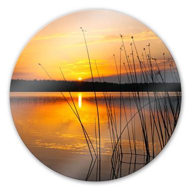 Glasbild Sonnenuntergang am See - rund
