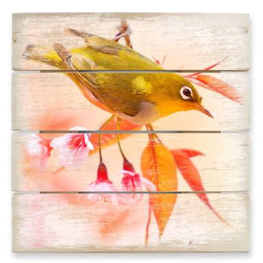 Holzbild Vogelgezwitscher in der Kirschblüte